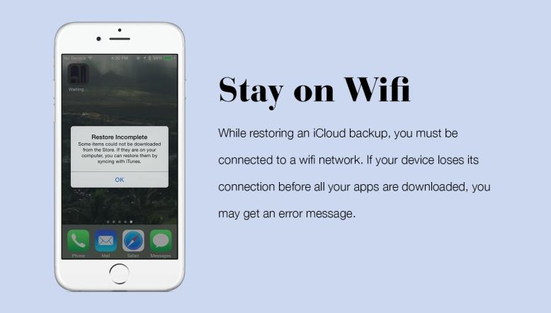 iCloud Restore Over Wifi