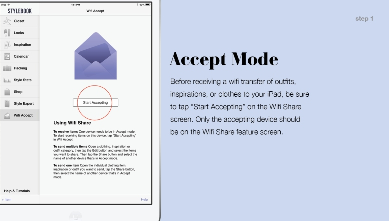 Stylebook Wifi Share On iPad