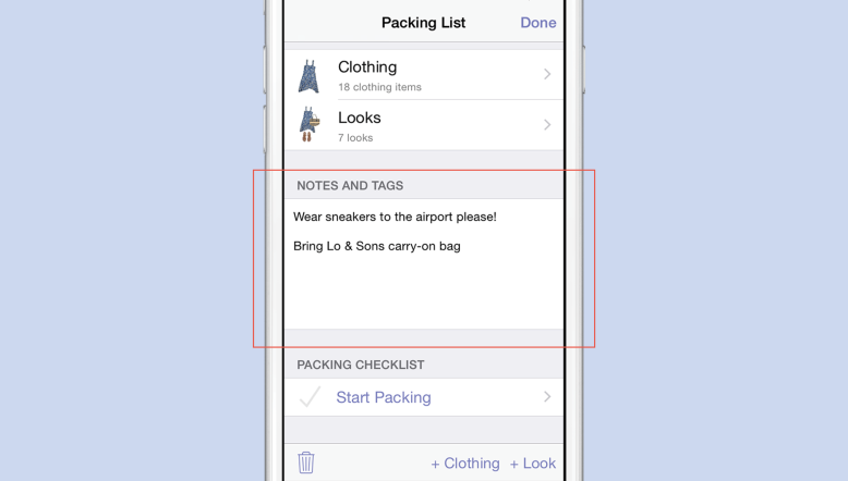 How To Add Notes To Packing List