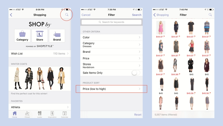 How To Sort Shopping By Price Inside Stylebook