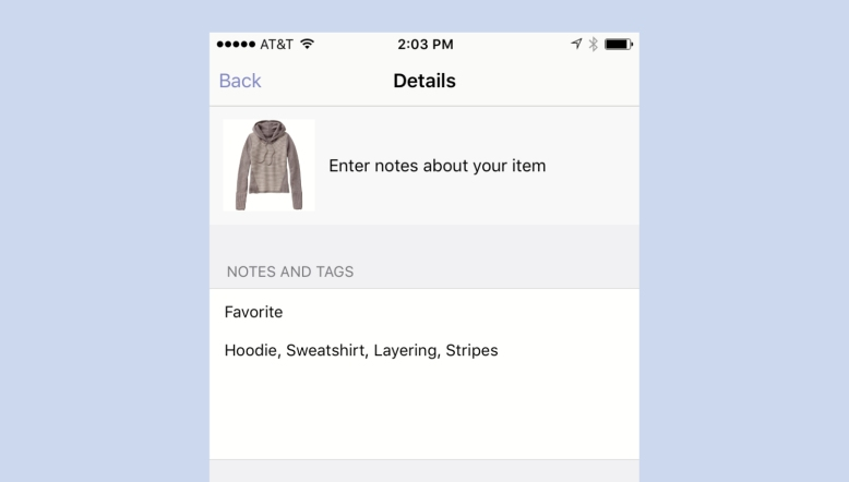 Tagging Clothes Inside Stylebook App